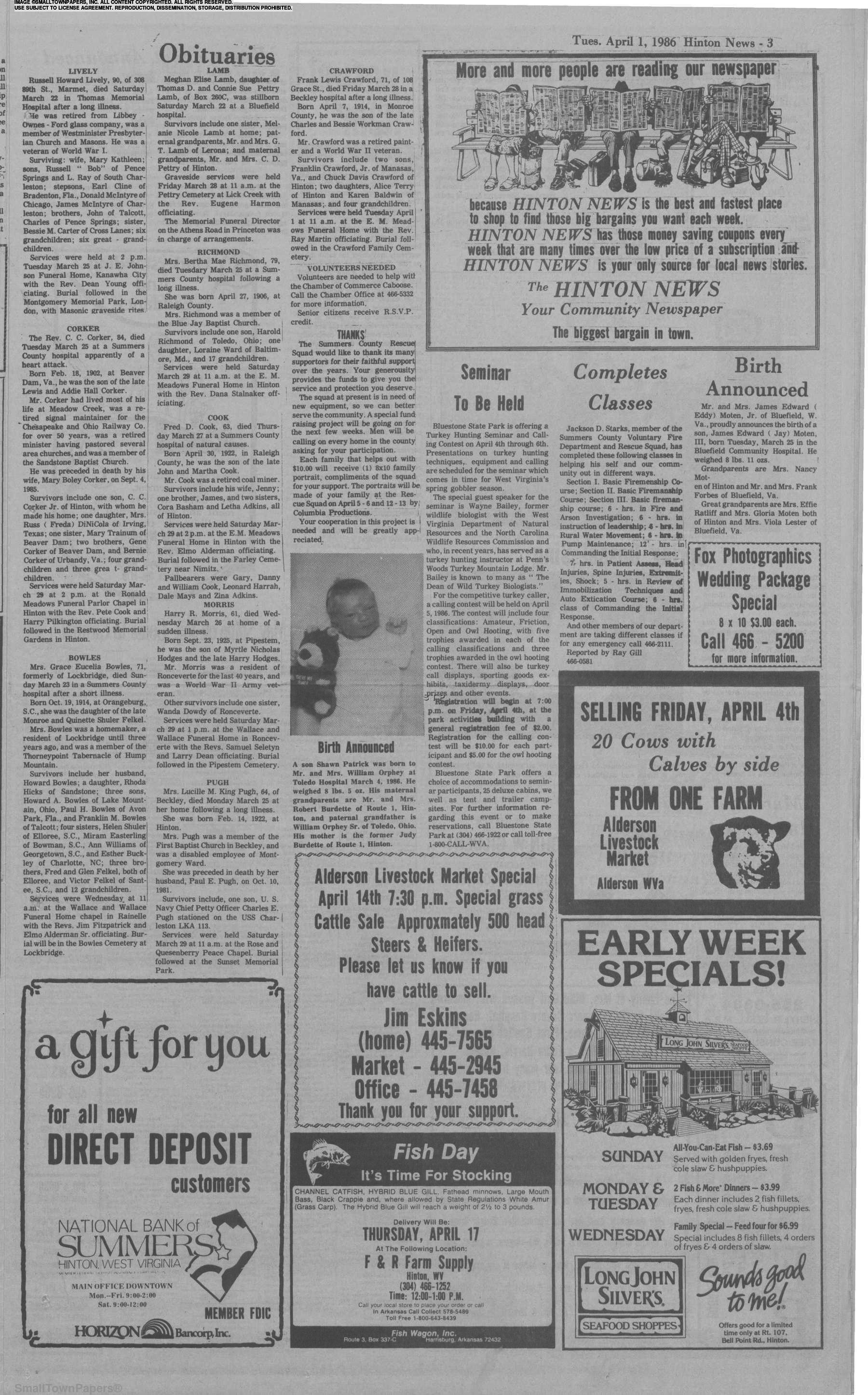The Hinton News April 1, 1986: Page 3